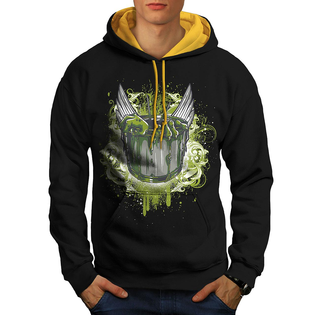 Witch Bowl Scary Men Black (Gold Hood)Contrast Hoodie | Wellcoda