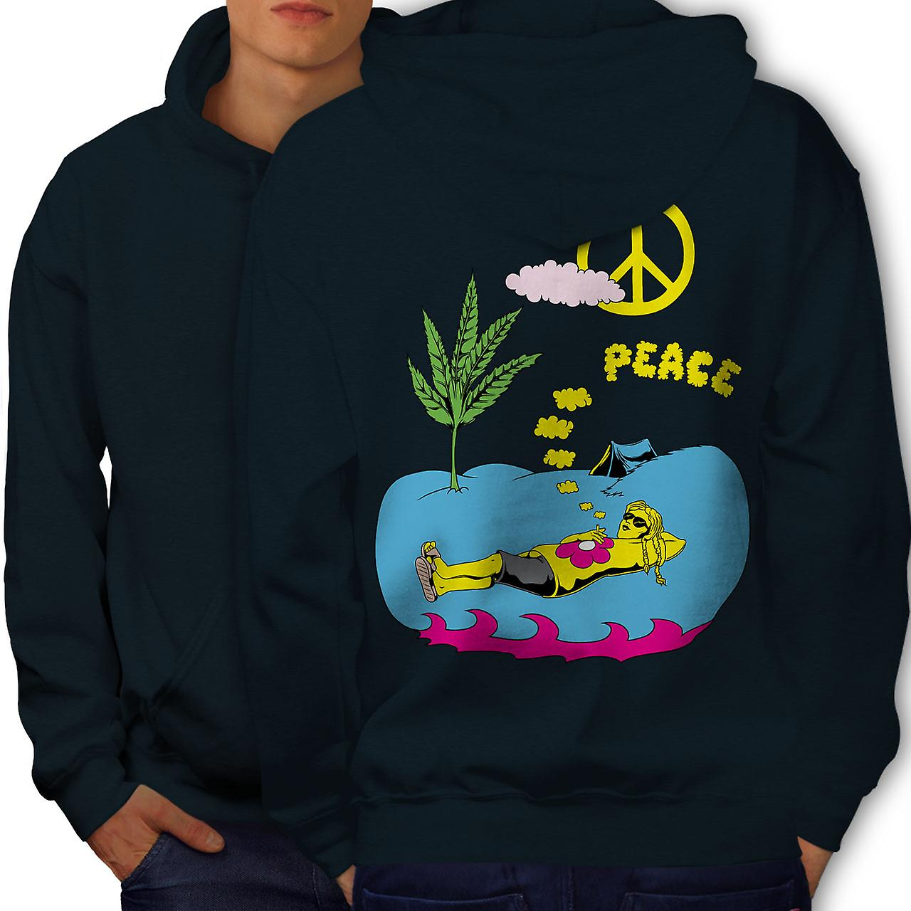 Peace Leaf 42 Weed Men NavyHoodie Back | Wellcoda