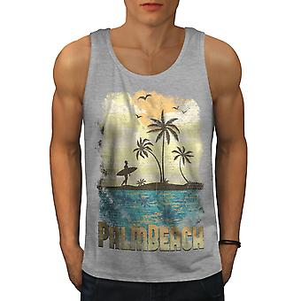 Palm Beach Holiday miesten GreyTank Top | Wellcoda