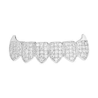 Grillz серебро - один размер подходит всем - вампиры цирконий снизу