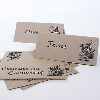 Alice in Wonderland Place Cards Set of 8 Brown Kraft Wedding Party