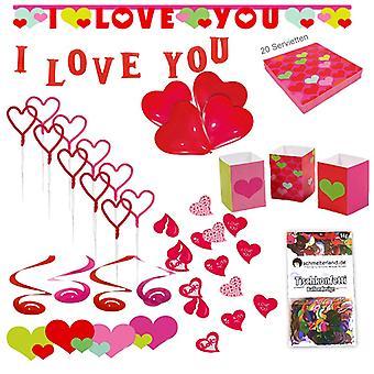 Festa de coração conjunto XL 61-teilig, eu amo você ama pacote de festa decoração de festa