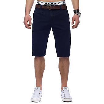Herren Chino Shorts Bermuda Denim SlimFit 100% Baumwolle kurze Hose Jeans Gürtel