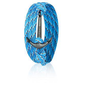 Шкипер якорь браслет браслет нейлон в светло-голубой/красный с черным якорь 6650