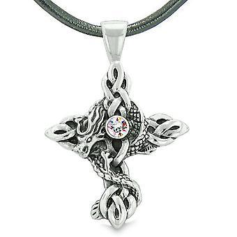 Feuer Drachen Schutz Keltische Knoten kreuzen Befugnisse magische Amulett Regenbogen Kristall Anhänger Halskette
