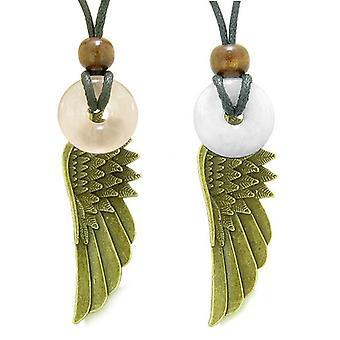 Guardian Angel Wings Magic Amulets Love Couples Best Friends Rose White Quartz Donut Necklaces