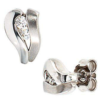 Earrings earrings studs, 375 / - white gold, partially frosted, 4 cubic zirconia, height 9.1 mm