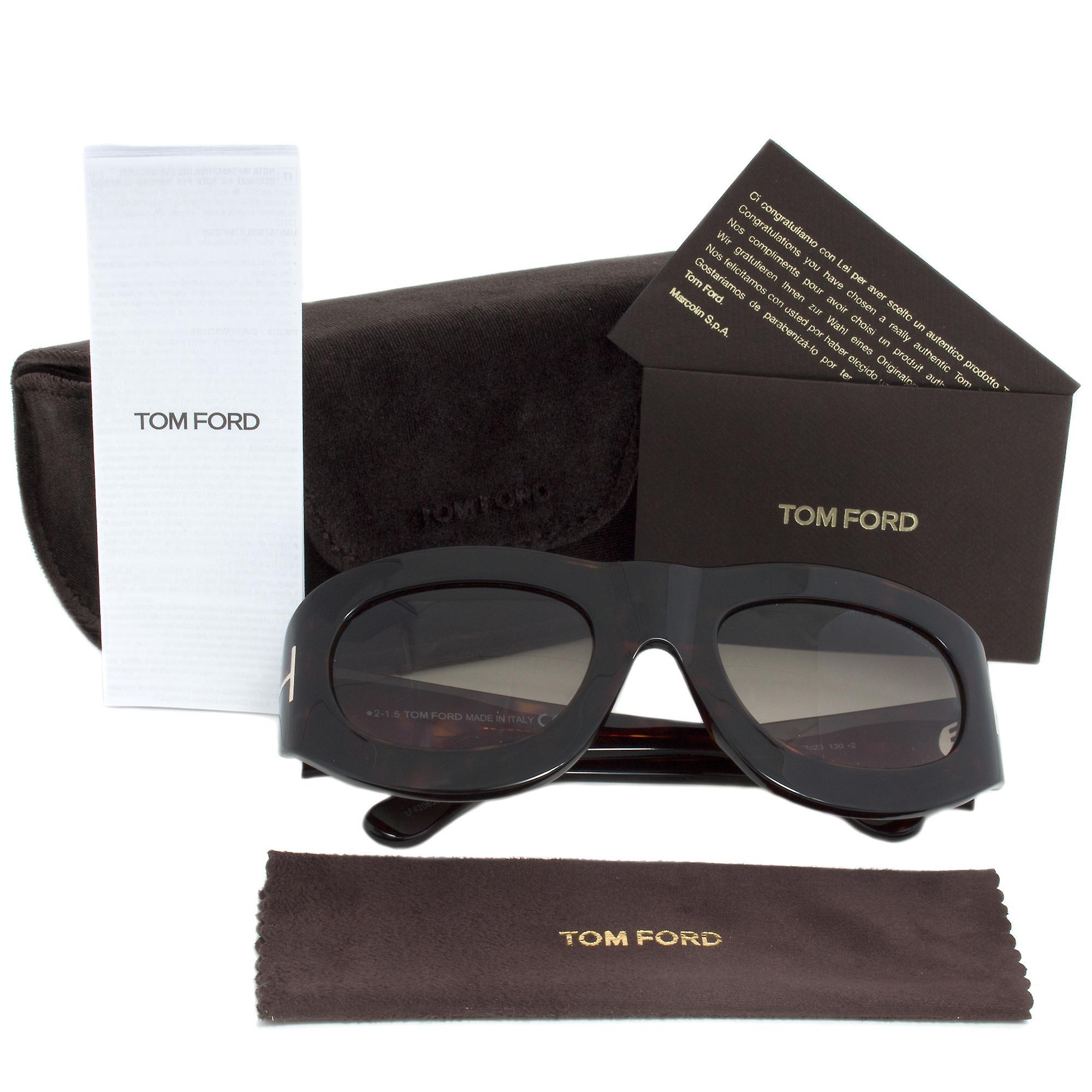 Tom Ford FT0403 56B Mila Oval Sunglasses | Dark Havana Frame | Grey Gradient Lens