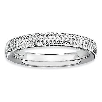 925 Sterling Argent Poli À motifs Rhodium plaqué Expressions Stackable Expressions Rhodium Ring Jewelry Gifts for Women - Ring