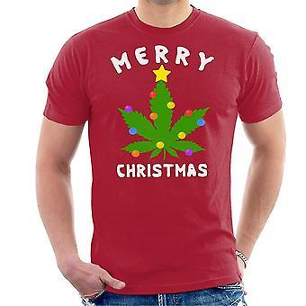 T-shirt uomo buon Natale Marijuana Leaf