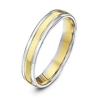 Star bryllup ringer 9ct hvitt & gult gull Court figur 4 mm giftering