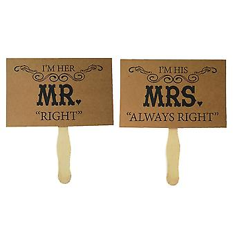 "TRIXES Mr and Mrs ""Right"" Picture photo prop cards Brown Card Rustic Wedding Decoration"