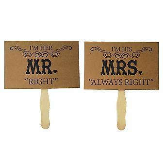 """TRIXES Sr. e Sra """"direito"""" Picture foto prop cartões cartão de Brown rústico decoração do casamento"""