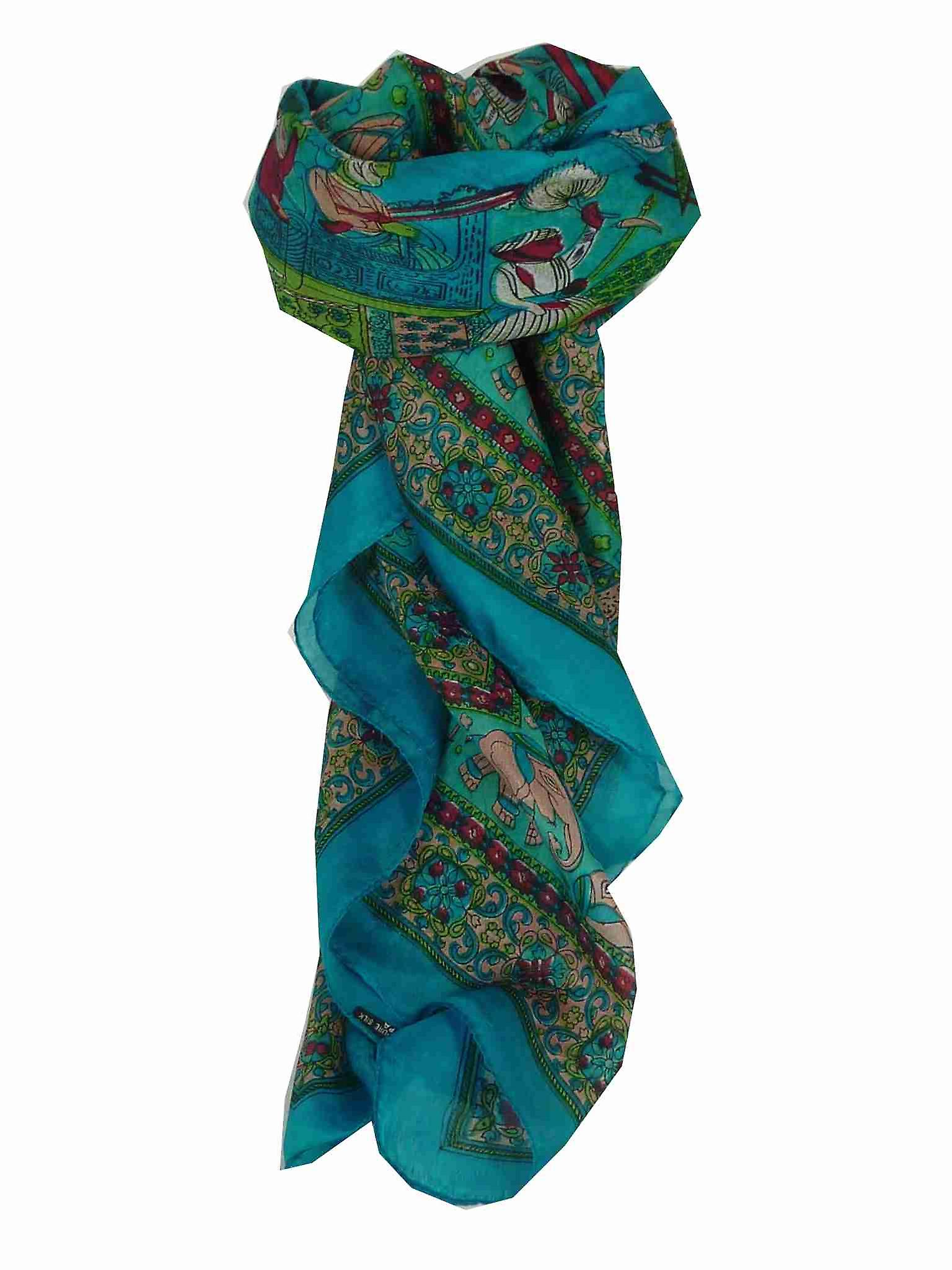 Mulberry Silk Traditional Square Scarf Farrin Aquamarine by Pashmina & Silk