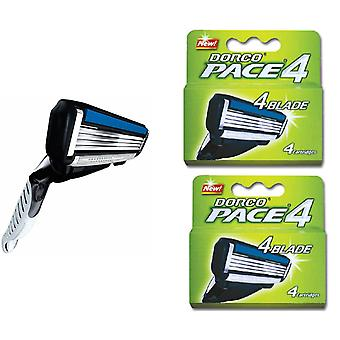 Dorco Razor Four Blade Pivoting Head & Chamomile Lube Strip 9 Blades 1 Handle
