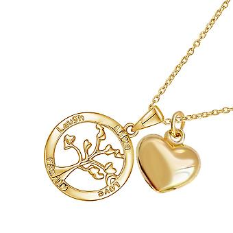 Sreema London 925 Sterling Silver Tree of Life halskæde & hjerte