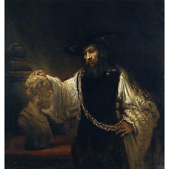 Aristote avec un buste d'Homère, Rembrandt, 50x47cm