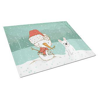 Valkoinen ranskalainen Bulldog lumi ukko Christmas lasi leikkuu lauta suuri