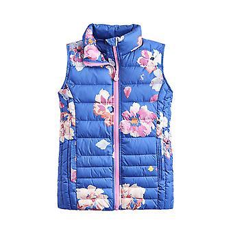 Joules Junior Croft Print flickor Packaway Gilet-Mid Blå blommig