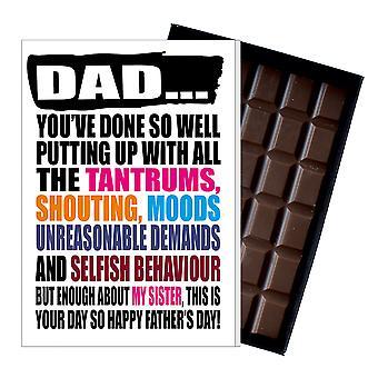 Śmieszne ojca dzień prezent od syna czekolada obecny rude karty dla tata DADIYF129