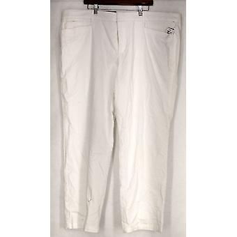 JM Collection Plus Pantalones Twill Straight Leg T White Mujeres