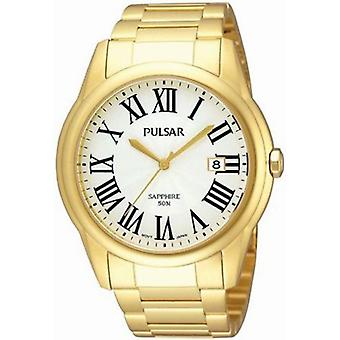 Pulse dress quartz analog man watch with stainless steel bracelet plated in gold PS9178X1
