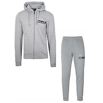Ea7 Light Grey Hooded Tracksuit
