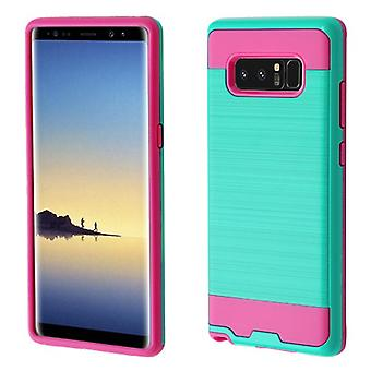 ASMYNA Teal Green/Hot Pink Brushed Hybrid Case for Galaxy Note 8