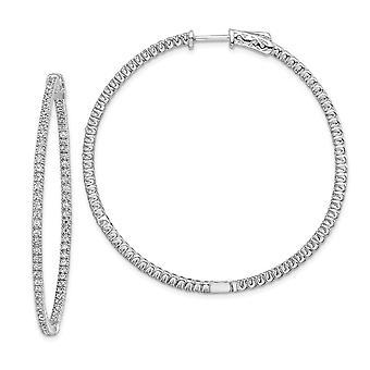 925 Sterling Silver Polerad Gångjärnsförsedd ring Säkerhetslås CZ Cubic Zirconia Simulerad Diamond Round Hoop Örhängen Mäter 4