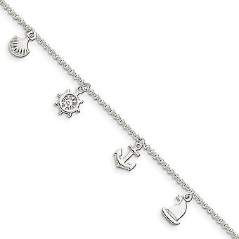 925 Sterling Silver Fancy Lobster Closure Polished Novelty With 1inch Ext. Anklet 9 Inch Jewelry Gifts for Women