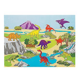 12 dinosaurie klistermärke scener för barn hantverk | Barn Dinosaur hantverk