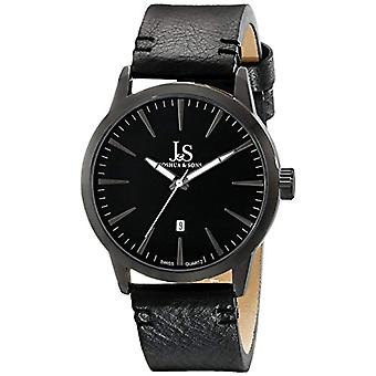 Joshua Sons men Quartz Black Dial, and 3-handmade, color: black
