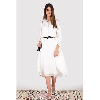 Kaftan elva long sleeve collared midi knee-length dress and belt in white