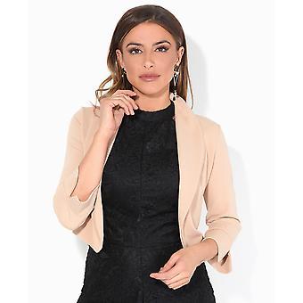 KRISP Femmes 3/4 Sleeve Evening Shrug Crop Bolero Top Open Jacket Blazer Party Work