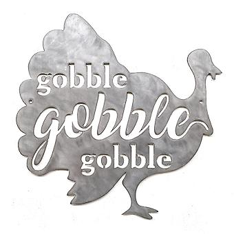 Gobble Turkije-Metal cut teken 15x15in