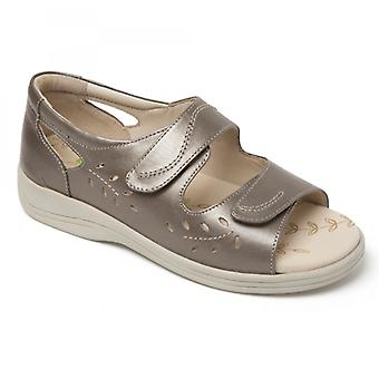 Padders Heatwave Ladies Leather Extra Wide (2e) Sandals Pewter