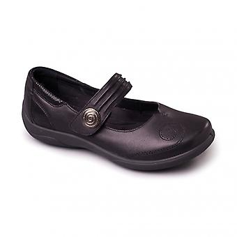 Padders Poem Ladies Leather Extra Wide (2e/3e) Mary Jane Shoes Black