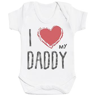 I Love My Daddy Red Heart Baby Bodysuit