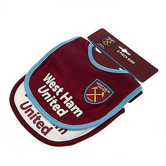 West Ham United FC Baby Bibs (Pack Of 2)