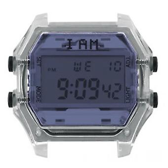 Watch I Am The Watch IAM-108 - Blue Glass Translucent Box and Black Buttons / Horn 20 mm Set