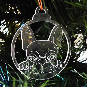 犬安物の宝石をクリア アクリル クリスマス装飾 6 個パック - フレンチ ブルドッグ顔