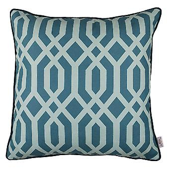 Teal Geometrics Decorative Throw Pillow Cover.