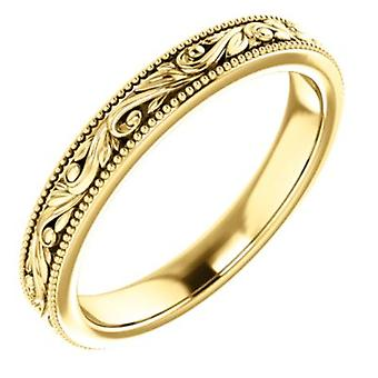 14k Yellow Gold Size 8 Polished Design engraved Wedding Band Ring Jewelry Gifts for Women