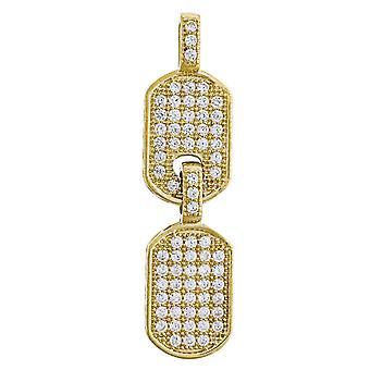 10k Gold CZ Cubic Zirconia Simulated Diamond Mens Double Height 36.7mm X Width 9.3mm Animal Pet Dog Tag Charm Pendant Ne