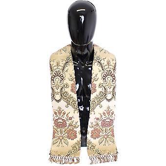 Dolce & Gabbana Scarf Men's Beige Silk Necktie Baroque Pattern