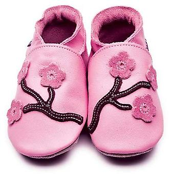 Baby shoes cherry blossom (pink/chocolate) - inch blue