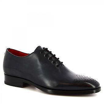 Leonardo Shoes Men's handmade classy oxford shoes in delavè blue calf leather