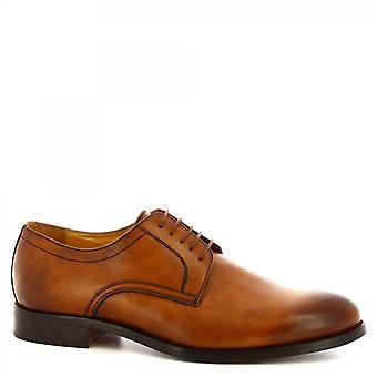 Leonardo Shoes Men's handmade classy oxford shoes in tan calf leather