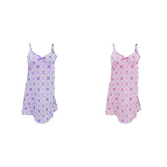Ladies/Womens Chequered Heart Detail Chemise Nightwear Dress / Pyjamas