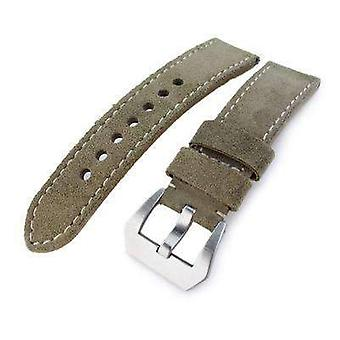 Strapcode leather watch strap  22mm miltat military green nubuck leather watch band, beige stitching